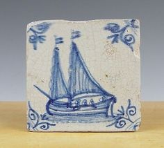 Antique Dutch Delft Tile SHIP Crew Circa 1625 1650 | eBay