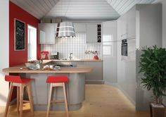 like - pale grey gloss cabinets magnet - Planar Grey do NOT like the tile walls and the floor and red walls