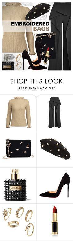 """""""Embroidered bags"""" by vn1ta ❤ liked on Polyvore featuring Roland Mouret, Topshop, Valentino, Christian Louboutin and L'Oréal Paris"""