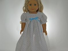 American Girl doll clothes, 18 inch doll clothes, American girl doll nightgown, White Dot Nightgown  04-0161 by thesewingshed on Etsy