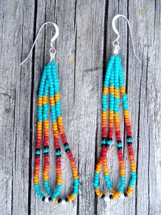 Love the COLORS!!    Native American Style Beaded Earring by SweetPeaGlass on Etsy, $14.00