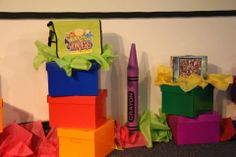 EZ idea! Purchase & put together these colorful boxes to use as blocks for WOW! Boxes can be found at office supply places. Also add colorful tissue papers as another way to WOW! www.cokesbury.com