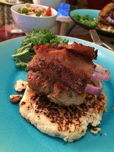 Cauliflower bun turkey burger with pork belly