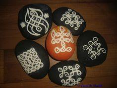 Kolam and Free hand Rangoli on Rocks