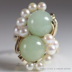 MING'S HAWAII 14K YELLOW GOLD LARGE PALE GREEN JADE BALL PEARL TWIN RING SZ 6 in Jewelry & Watches, Vintage & Antique Jewelry, Fine | eBay