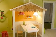 Doesn't add that mush more space to over the table and could also add a curtain for performances.  small playroom ideas | 13 Fun and Practical Toddler Play Room Ideas