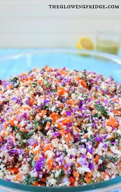 Chopped Detox Raw Vegan Salad with cauliflower, kale, red cabbage, sunflower seeds and more! Along with an oil-free citrus avocado detox dressing - restore, refresh and reset your body! From The Glowing Fridge