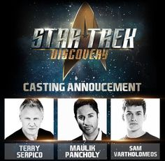 'Star Trek: Discovery' beams new Starfleet officers on board     - CNET Welcome three new Starfleet officers.                                                       CBS                                                   It looks like Starfleet is still recruiting. On Monday CBS announced three new cast members for Star Trek: Discovery: Terry Serpico Maulik Pancholy and Sam Vartholomeos.    Pancholy is the most recognizable of the new cast members after his stint on 30 Rock as the…