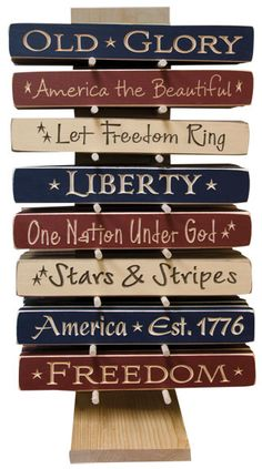 Wooden Americana Sayings Blocks! Americana Crafts, Patriotic Crafts, July Crafts, Summer Crafts, Wooden Crafts, Wooden Diy, Wooden Signs, Primitive Wood Signs, Primitive Country