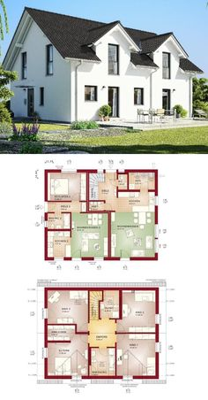 Klassisches einfamilienhaus mit satteldach erker und for Minimalistisches haus grundriss
