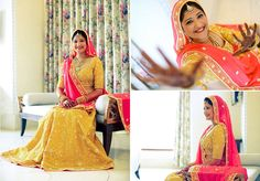 A rich yellow and orange ensemble paired with a red 'bandini' dupatta with a shimmering gold border by Manish Tripathi for Monica of WeddingSutra.