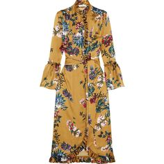 Erdem Siren ruffled printed silk-satin midi dress ($1,930) ❤ liked on Polyvore featuring dresses, erdem, mustard, pattern dress, print midi dress, brown midi dress, ruffle midi dress and frilly dresses