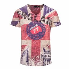 ab955799b Top Quality New Vintage Print Men T shirts Brand England Flag Men Casual  Cotton T shirt V Neck Tops Man Tee Shirts Clothing-