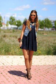 Black T Shirt Dress And Denim Vest