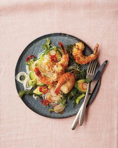 This coconut-and-lime crusted shrimp is infinitely more flavorful and less messy than its deep-fried counterpart. It's paired with a rice noodle salad that strikes the perfect balance between sweet and spicy thanks to fresh chile and your choice of hot pepper jelly or mango chutney.