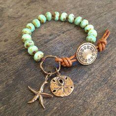 "Sand Dollar & Starfish Hand Knotted Bracelet, ""Beach Boho"" $34.00"