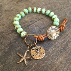 "Starfish Sand Dollar Knotted Bracelet, ""Beach Boho"" by Two Silver Sisters"