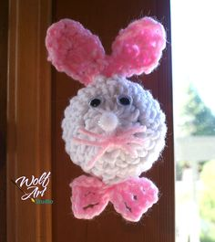 Crochet Bunny Door Knob Cover with Pink Ears and by WolfArtStudio, $13.00