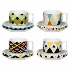 Magpie Viva Set Of 4 Espresso Cups: The Magpie Viva range was designed by Sarah Campbell, who became very well known as co founder of design company Collier Campbell, and for whom pattern is her passion. Viva highlights Sarah's love of juxtaposing patterns and motifs within a geometric mood of diamonds and triangles.