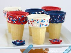 of July Dipped Ice Cream Cone Fun! of July Dipped Ice Cream Cones by Amy Miller Designs 4th Of July Desserts, Fourth Of July Food, 4th Of July Celebration, 4th Of July Party, July 4th, Patriotic Party, Patriotic Desserts, Patriotic Crafts, Do It Yourself Quotes