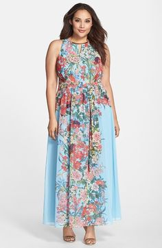 Adrianna Papell Embellished Keyhole Floral Print Chiffon Maxi Dress (Plus Size) available at #Nordstrom