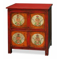 Hand Painted Tibetan Chest. pted from Tibetan Art, this cabinet is uniquely hand painted with a vibrant floral motif design. Tibetan furniture.