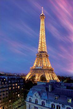 Eiffel Tower at Dusk, Paris, France.