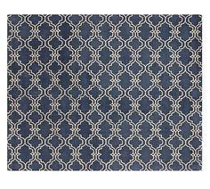 Scroll Tile Rug - Indigo Blue   Pottery Barn