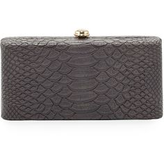 Neiman Marcus Snake-Embossed Box Evening Clutch Bag ($46) ❤ liked on Polyvore featuring bags, handbags, clutches, grey, holiday purses, evening box clutch, gray handbags, neiman marcus purses and special occasion handbags