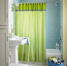 Small Bathroom Decorating Ideas With Green Shower Curtain  Simple Small Bathroom Decorating Ideas