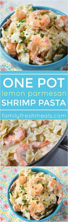 One Pot Lemon Parmesan Shrimp Pasta - Family Fresh Meals