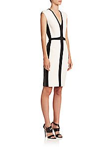 Narciso Rodriguez - Tri-Color Cap-Sleeve Sheath Dress