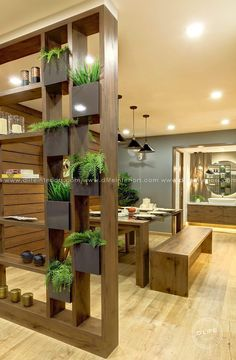 80 Incredible Room Dividers and Separators With Selves Ideas 35 « Mutter ADS Living Room Partition Design, Room Partition Designs, Wooden Partition Design, Partition Ideas, Room Partition Wall, Home Room Design, Home Interior Design, Living Room Designs, Living Room Divider