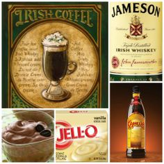 IRISH COFFEE PUDDING SHOTS 1 small pkg. vanilla pudding (instant, not the cooking kind) ¾ Cup Milk 1/2 Cup Kahlúa 1/4 Cup Irish Whiskey 8oz tub Cool Whip  Directions 1. Whisk together the milk, liquor, and instant pudding in a bowl until combined. 2. Add cool whip a little at a time with whisk. 3. Spoon the pudding mixture into shot glasses, disposable party shot cups or 1 or 2 ounce cups with lids. Place in freezer for at least 2 hours