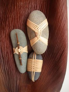 Cane wrapped rocks, Japanese basketry knots: