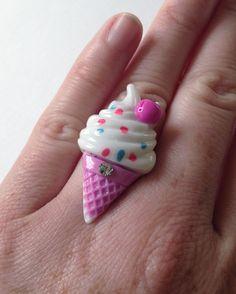 Kawaii Fairy Kei Ice Cream Cone Adjustable Ring - Kawaii Ring - Fairy Kei Ring - Pop Kei Ring - Kawaii Jewelry - Fairy Kei Jewelry