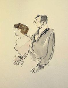 003 Max Schwimmer, o. T. ( Paar ), 1930er Jahre, Kreide Aqaurell