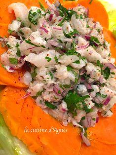 évasion culinaire avec une recette issue de la cuisine péruvienne : un ceviche de cabillaud ...une excellente entrée fraiche, légère et facile à réaliser . http://lacuisinedagnes.com/ceviche-de-cabillaud/