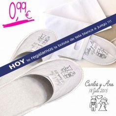 Zapatillas serigrafiadas nombre novios y fecha boda