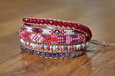 """Bracelet wrap d'Enjoy Wrap modèle """"Ophélie"""" en pierres semi prècieuses"""