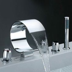 Interesting bathroom faucet with waterfall flair.  #bathroom #faucet