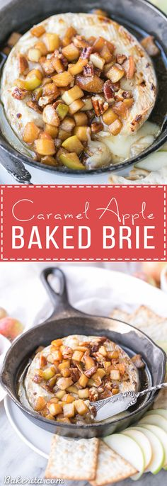 Caramel Apple Baked Brie is a gooey, scrumptious appetizer that's perfect for holiday entertaining! This easy recipe has a caramel apple topping piled on top of wheel of melted brie. It only has 5 ingredients and takes 20 minutes from start to finish. #ad