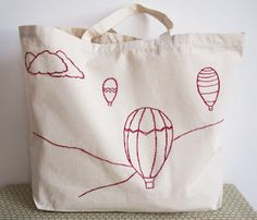 hot air balloon -embroidered