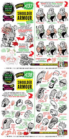How to draw SHOULDER ARMOUR tutorial by https://studioblinktwice.deviantart.com on @DeviantArt