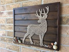 String Art Buck - Rocks and mulch on tounge and groove wood with frame. String Art Buck - Rocks and mulch on tounge and groove wood with frame. String Wall Art, Nail String Art, Metal Tree Wall Art, Metal Art, String Art Templates, String Art Patterns, Tounge And Groove, Arte Linear, Button Art