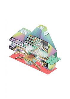 A closer look at The Fashion Temple, 2nd-prize BANGKOK: IAM FASHION winner | Axonometric Diagram. Image courtesy of Jun Ong and Raphael Cheng | Bustler
