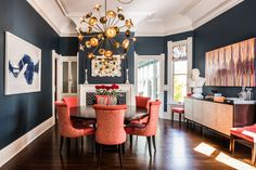 For drama in the dining room, designer Tineke Triggs chose In the Midnight Hour by Benjamin Moore as the wall color.