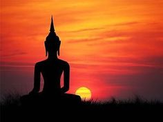 Art Print Poster Painting Drawing Buddha Silhouette Sunset Sky ...