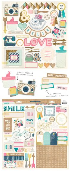Crate Paper Craft Market Chipboard & Stickers