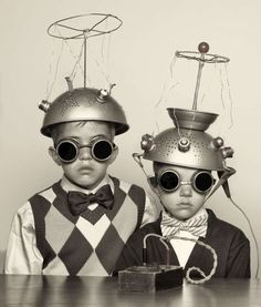 Vintage portrait of a couple of boys experimenting with their mind...